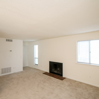 View of Heathstead apartment with fireplace