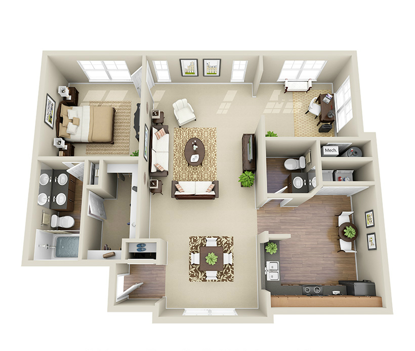 Providence Park 1.5 bedroom/1 bath Camile garden apartment floor plan