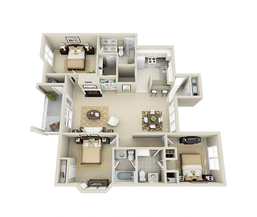 Providence Park 3 bedroom/2.5 bath Crowell garden apartment floor plan