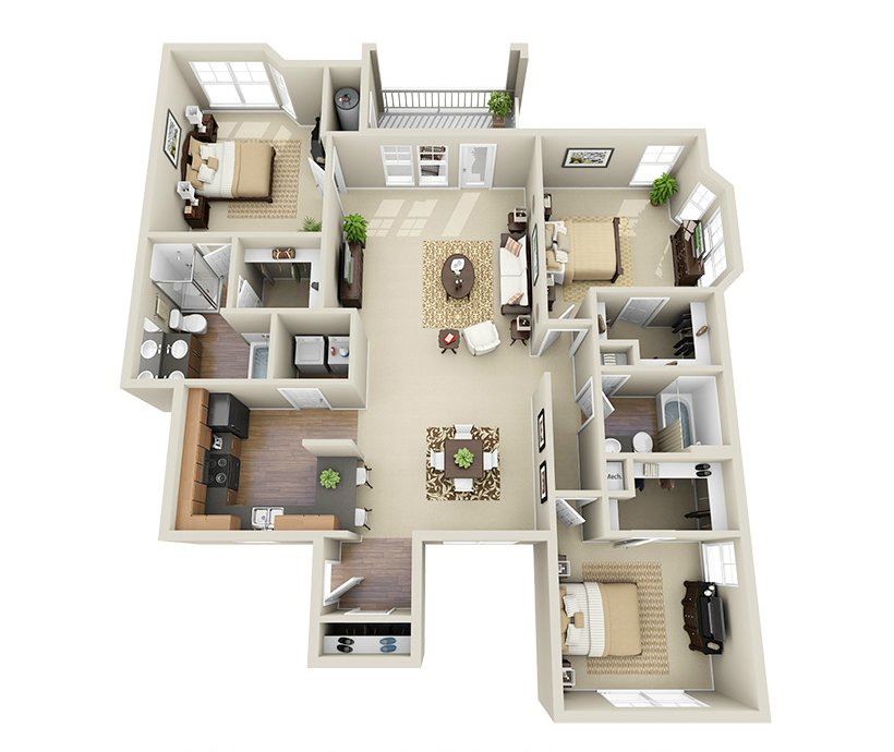 Providence Park 3 bedroom/2 bath Crowell II garden apartment floor plan