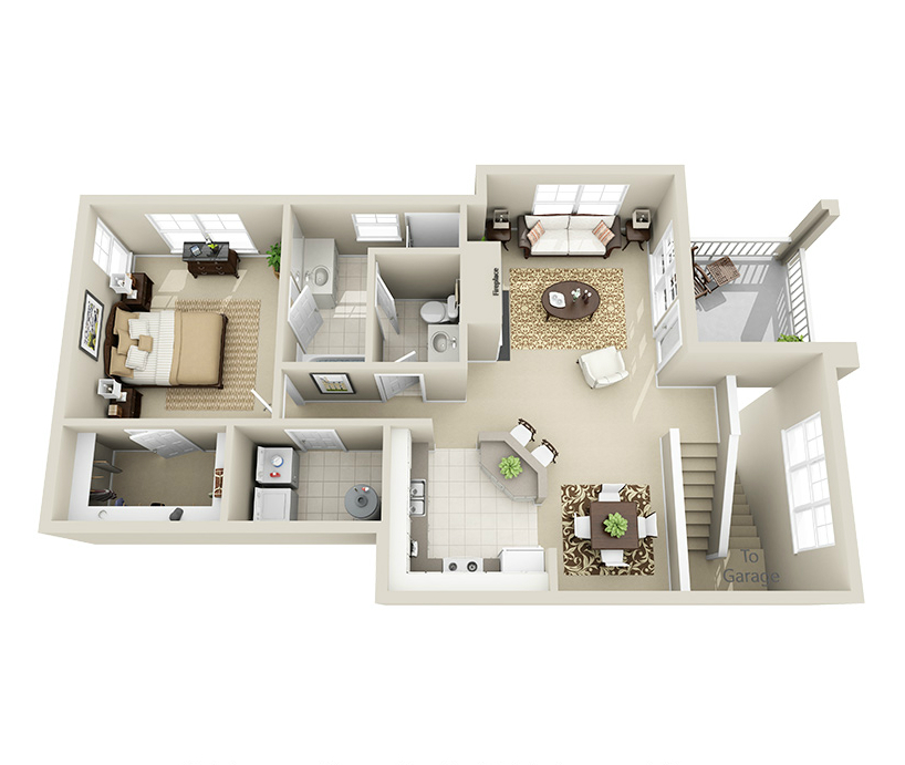 Providence Park 1 bedroom/1 bath Hunter garden apartment floor plan