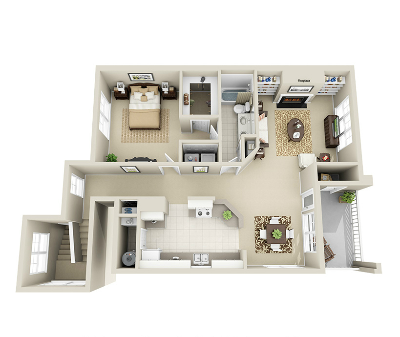Providence Park 1 bedroom/1 bath Johnston garden apartment floor plan