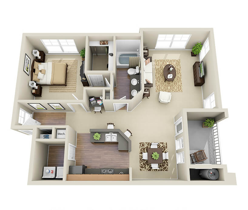 Providence Park 1 bedroom1 bath Johnston II garden apartment floor plan