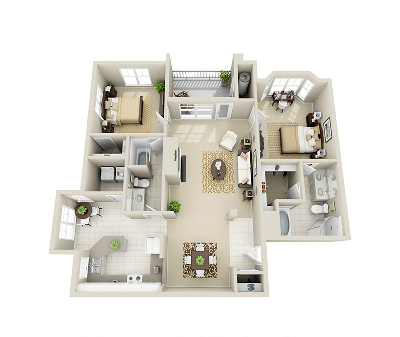 Providence Park 2 bedroom/2 bath Lee garden apartment floor plan