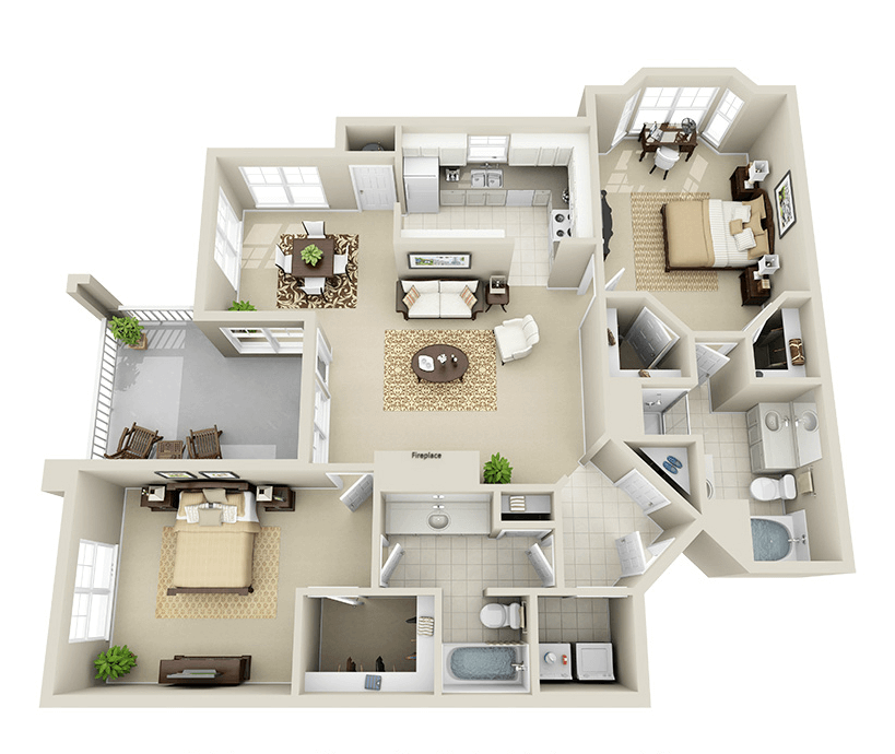 Providence Park 2 bedroom/2 bath Myers I garden apartment floor plan