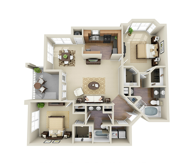 Providence Park 2 bedroom/2 bath Myers II garden apartment floor plan