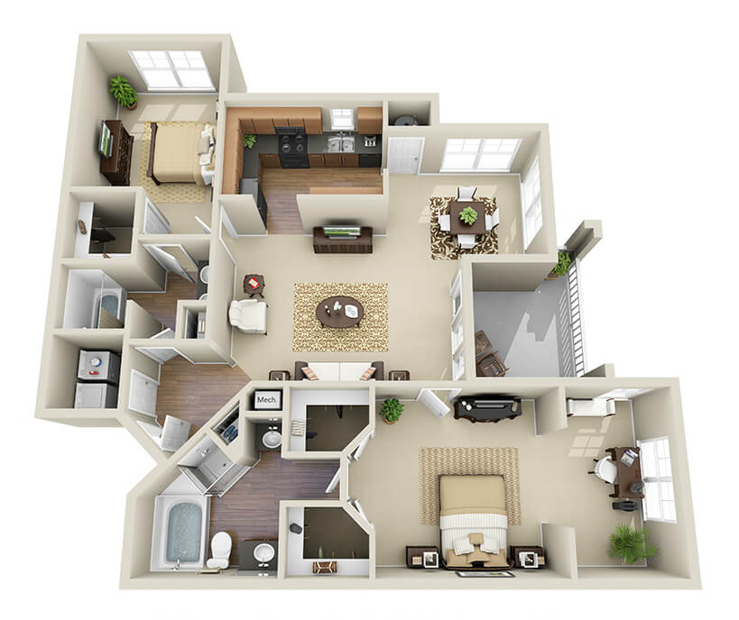 Providence Park 2 bedroom/2 bath Myers sunroom garden floor plan