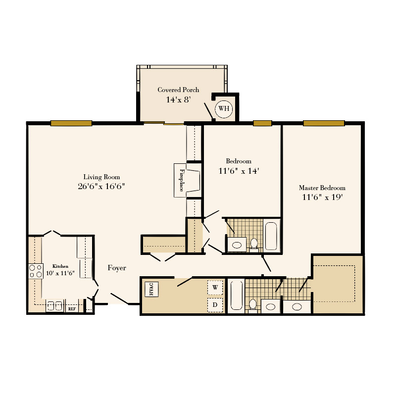 Queens at Granville 2 bedroom/2 bath Ardsley apartment floor plan