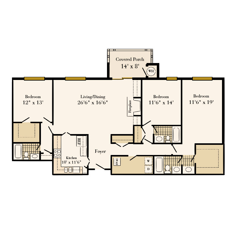 Queens at Granville 3 bedroom/3 bath Edgehill apartment floor plan