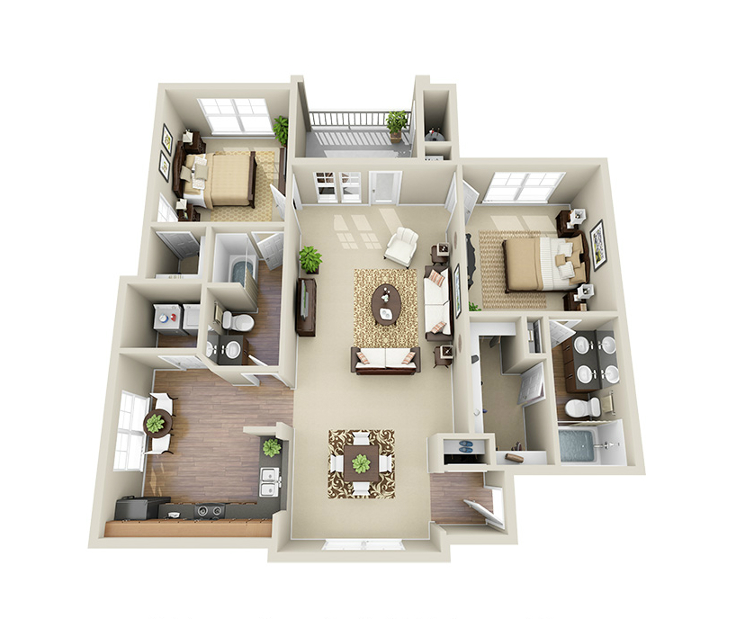 Providence Park 2 bedroom/2 bath Sikes II garden apartment floor plan