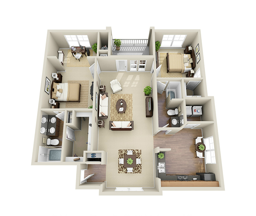 Providence Park 2 bedroom/2 bath Sikes sunroom garden floor plan