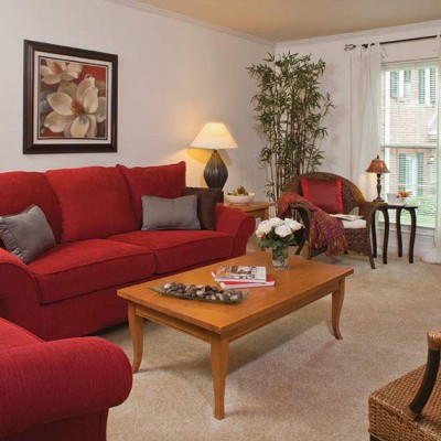 Apartment living room at Elmhurst at Sedgefield