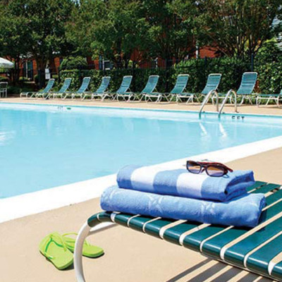 Pool and lounge chairs at Elmhurst at Sedgefield