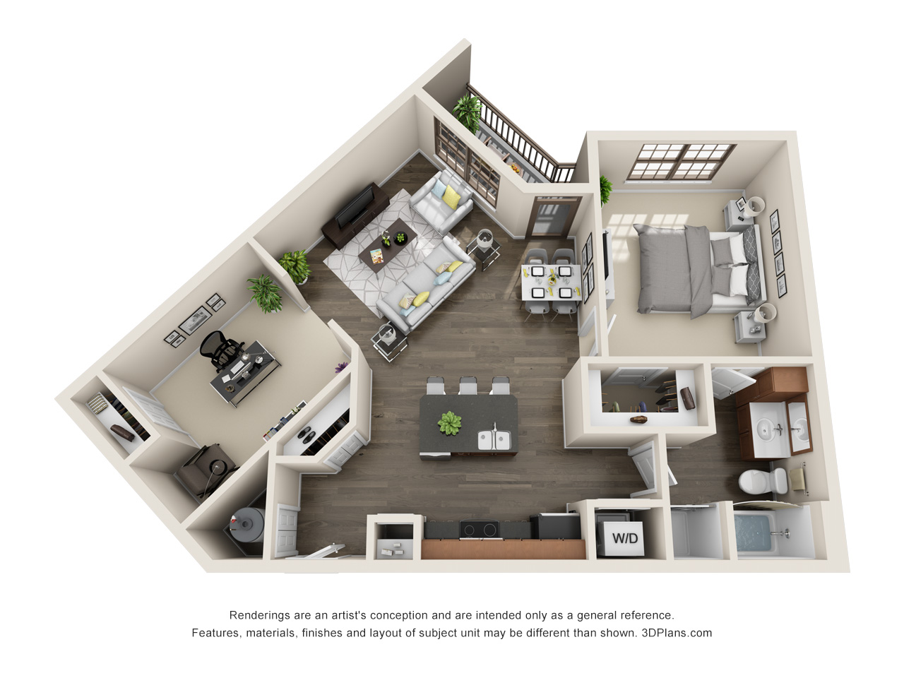 The Lexington Dillworth 1 bedroom/1 bath THE PARK floorplan