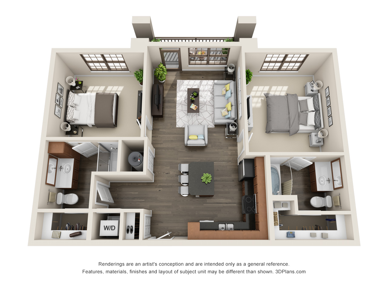 The Lexington Dillworth 2 bedroom/2 bath THE DOWD floorplan