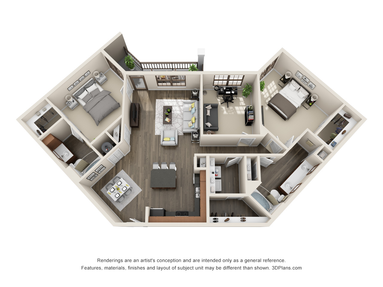 The Lexington Dillworth 2 bedroom/2 bath + study THE FORSYTHE floorplan