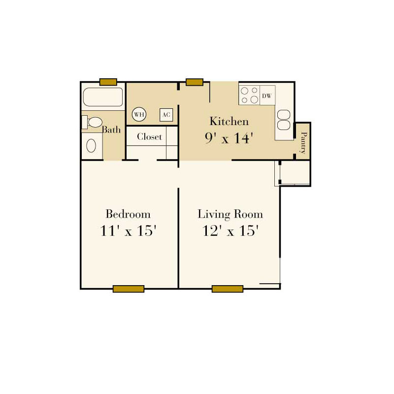 Elmhurst 1 bedroom/1 bath garden apartment floor plan