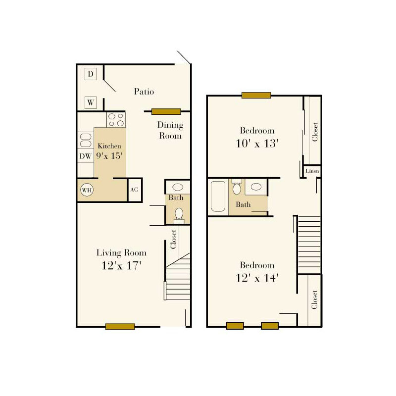 Elmhurst 2 bedroom/1.5 bath townhome floor plan