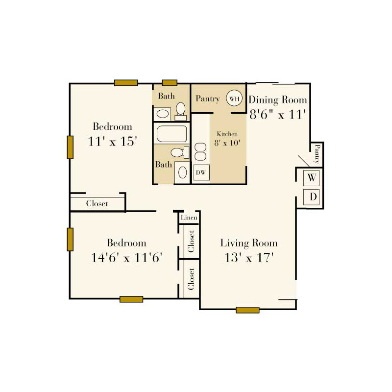Elmhurst 2 bedroom/2 bath garden apartment floor plan