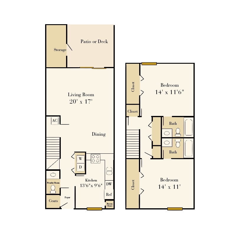 Park Place 2 bedroom/2.5 bath townhome floor plan