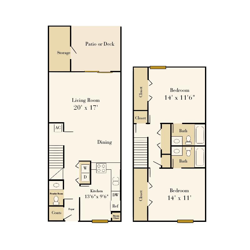 Park Place 2 bedroom/2.5 bath townhome floor plan
