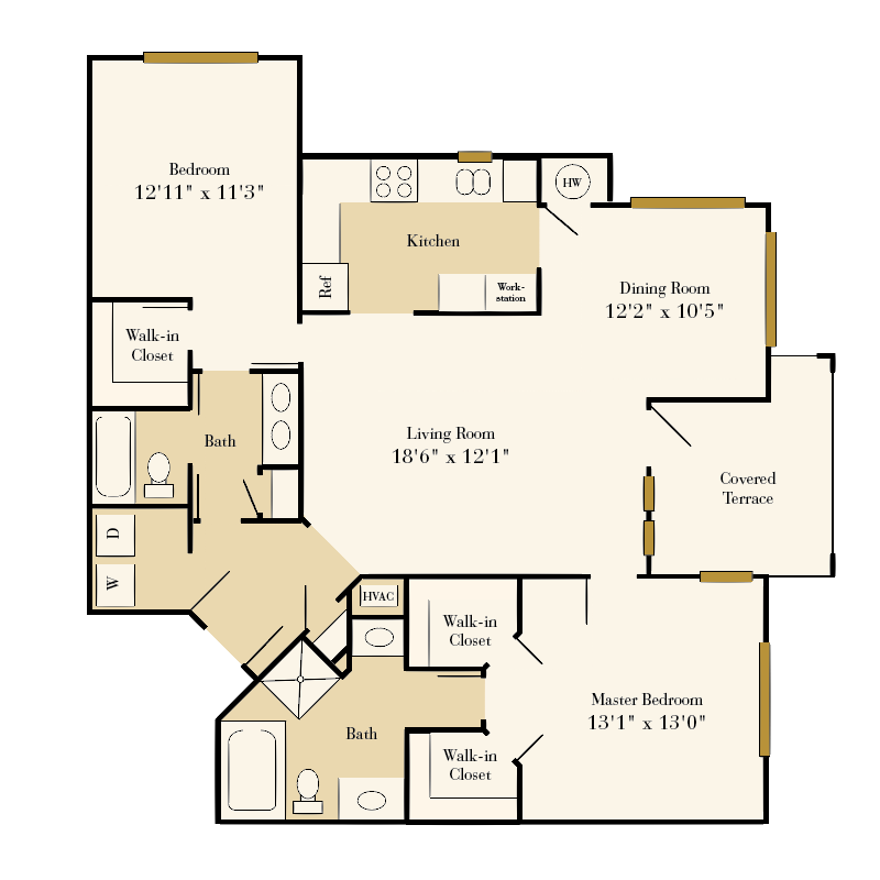 Providence Park 2 bedroom/2 bath Myers over sunroom garden apartment floor plan