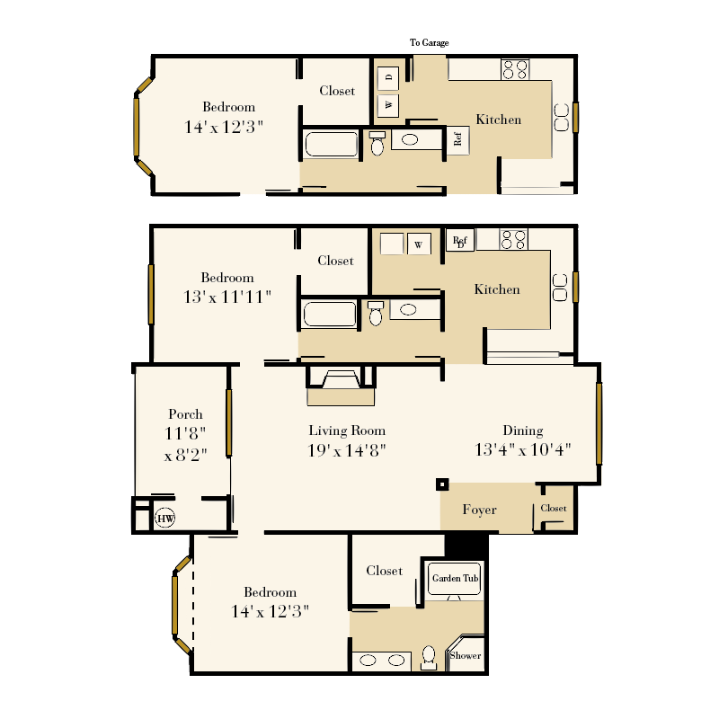 Providence Park 2 bedroom/2 bath Sikes I garden apartment floor plan