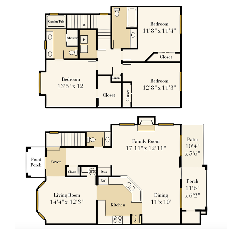 Providence Park 3 bedroom2.5 bath Alexis townhome floor plan