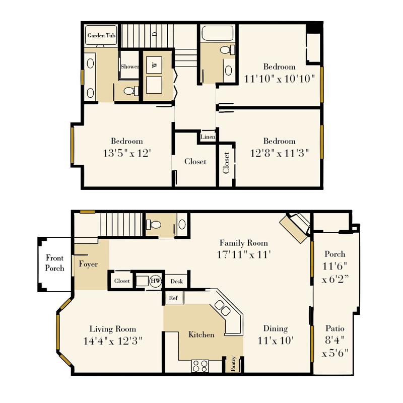 Providence Park 3 bedroom/2.5 bath Wriston townhome floor plan