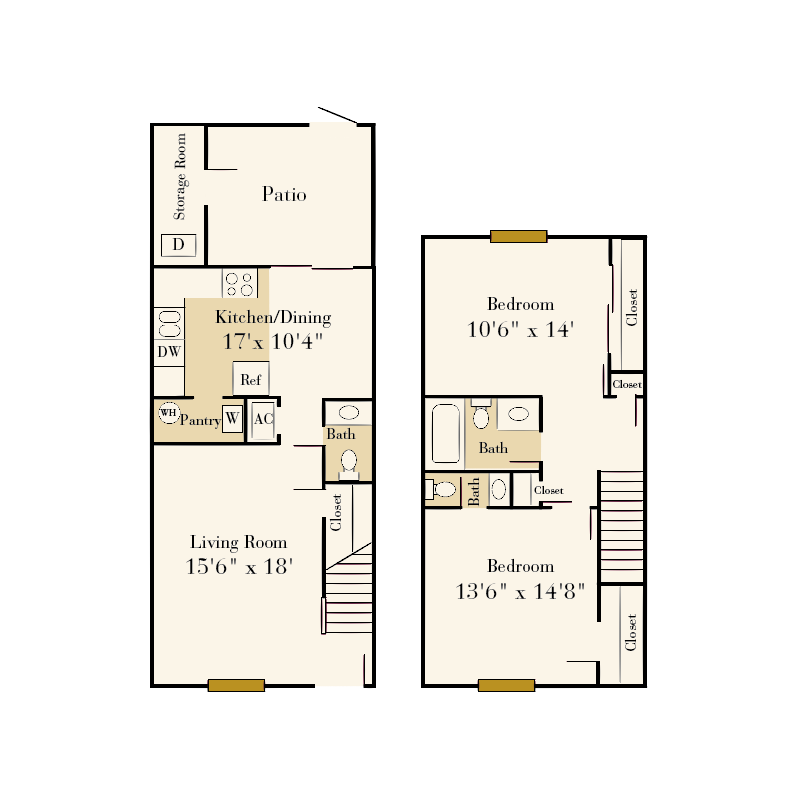 Salem Village 2 bedroom/2 bath townhome floor plan