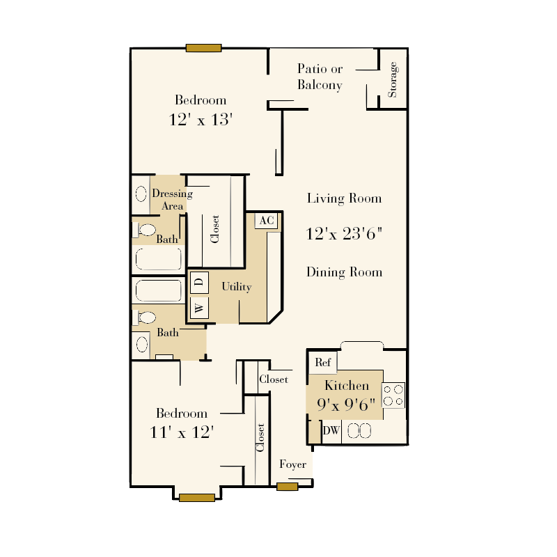 Salem Village 2 bedroom/2 bath garden apartment floor plan