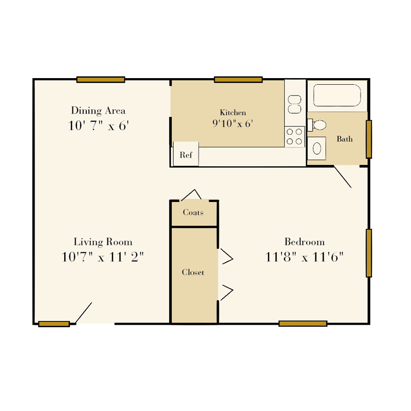 Sedgefield one-bedroom 1 bath duplex floor plan
