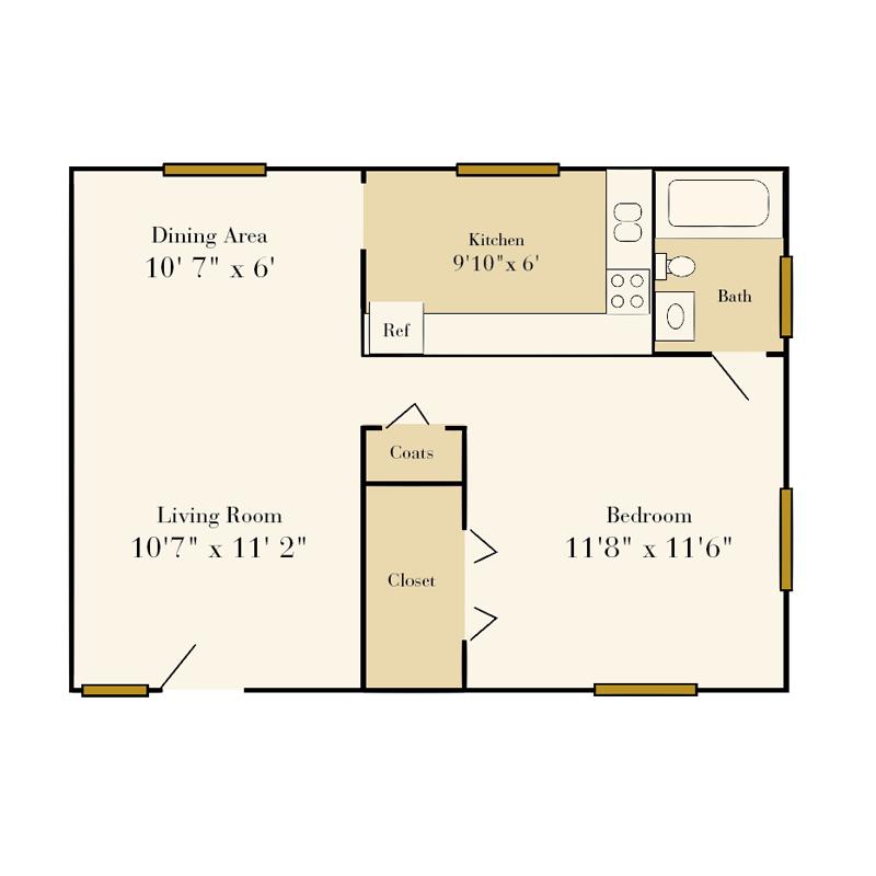 Sedgefield one-bedroom 1 bath duplex floor plan