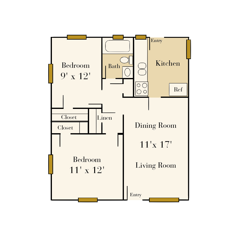 The Sedgefield 2 bedroom/1 bath floor plan