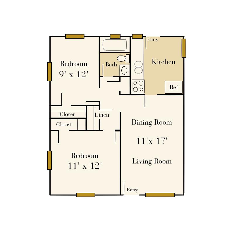 The Sedgefield 2 bedroom/1 bath floor plan