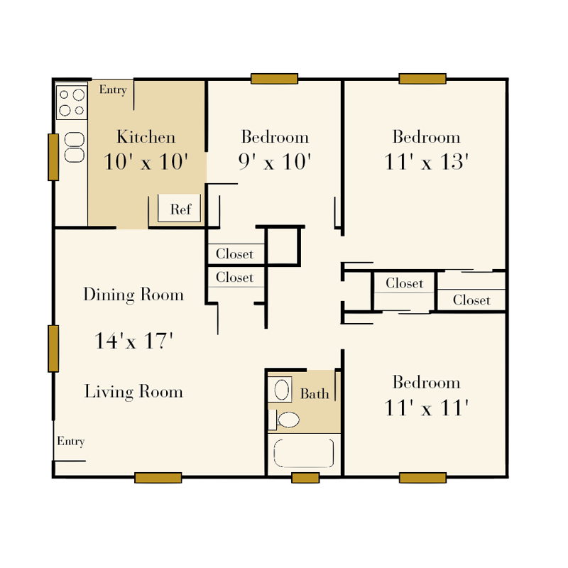 The Sedgefield 3 bedroom/1 bath duplex floor plan