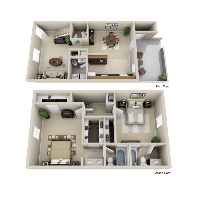 Strawberry Hill 2 bedroom/2.5 bath Sherlock townhome floor plan