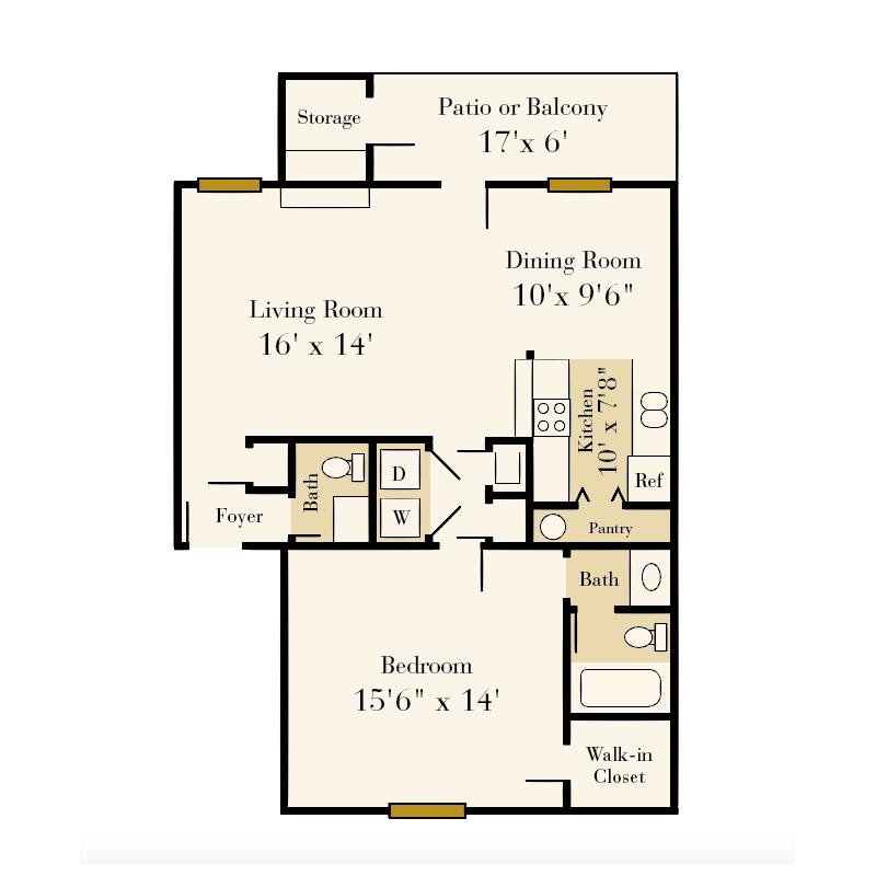 Strawberry Hill 1 bedroom/1.5 bath Eli garden apartment floor plan