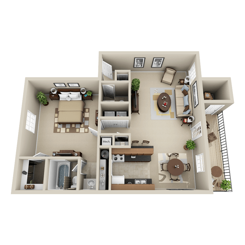 Strawberry Hill 1 bedroom/1.5 bath Eli garden apartment floor plan