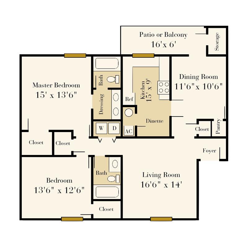 Strawberry Hill 2 bedroom/2 bath Graham garden apartment floor plan