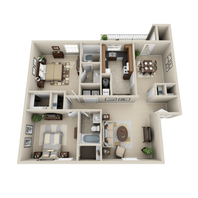 Strawberry Hill 2 bedroom/2 bath Graham garden apartment floor plan