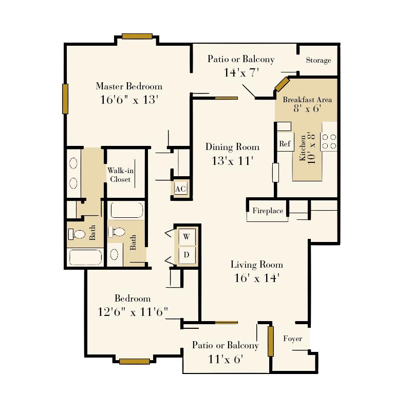 Strawberry Hill 2 bedroom/2 bath Majesty garden apartment floor plan