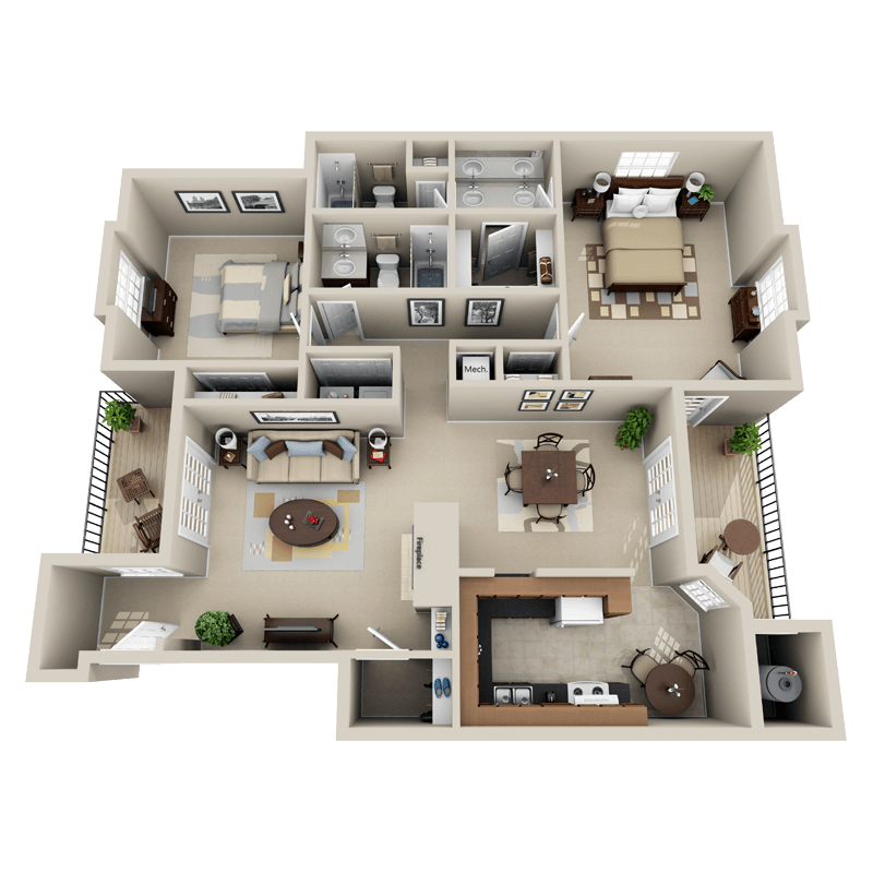 Strawberry Hill 2 bedroom/2 bath Majesty garden apartment floor plan