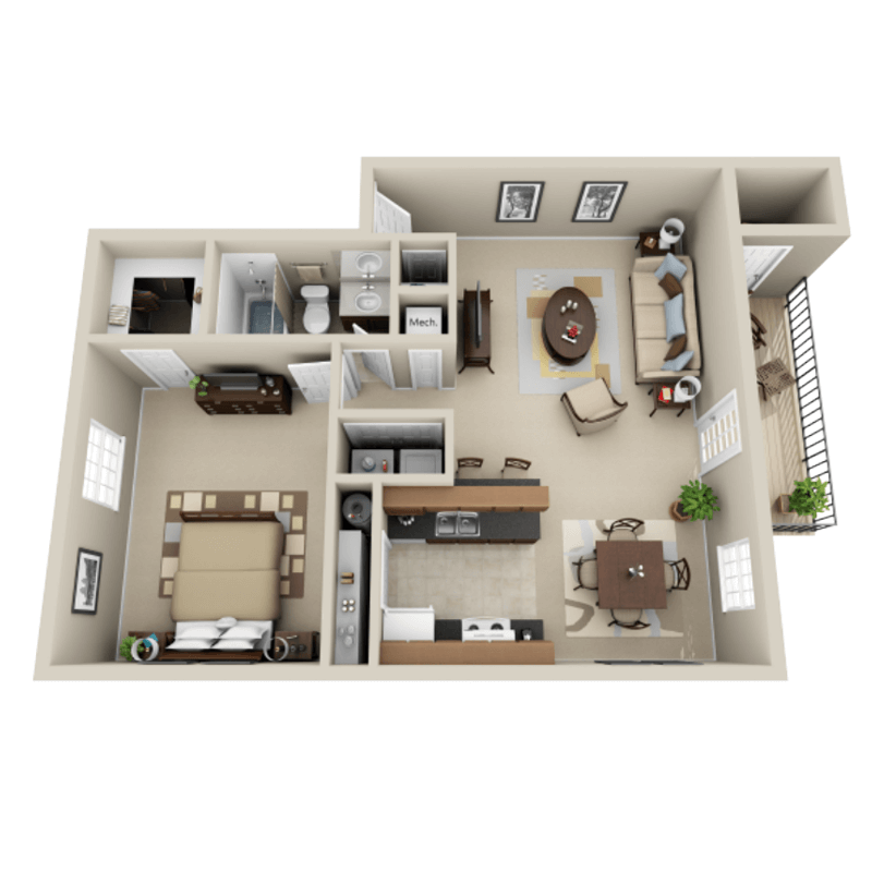 Strawberry Hill 1 bedroom/1 bath Shelby garden apartment floor plan