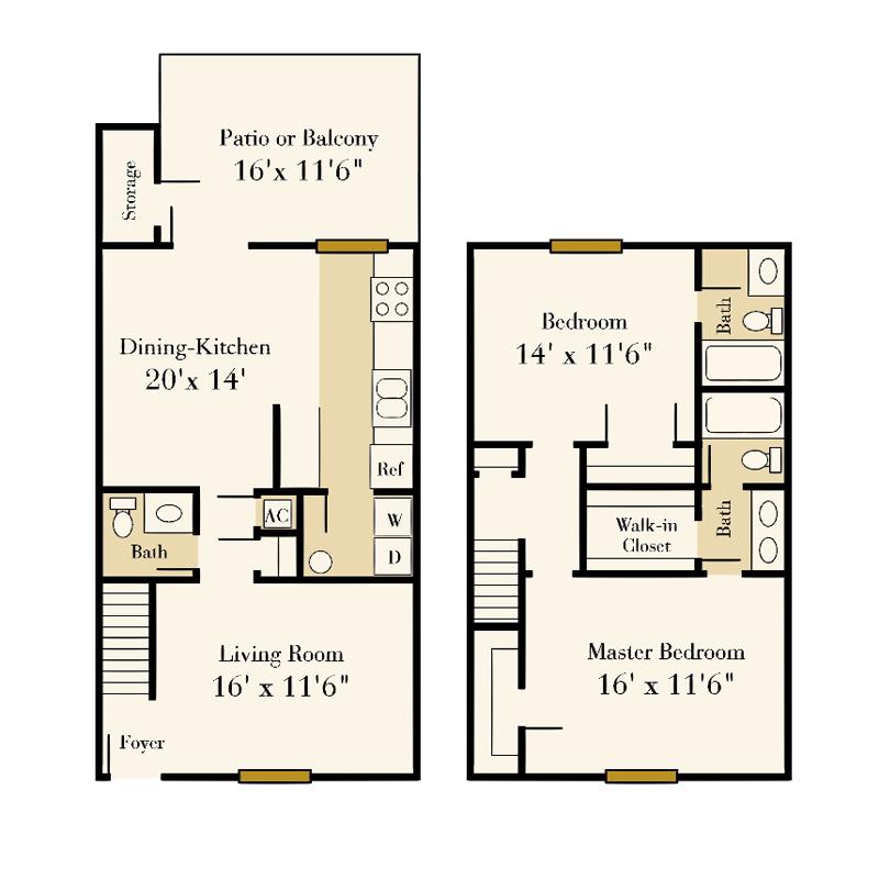 Strawberry Hill 2 bedroom/2.5 bath Sherlock townhome floor plan