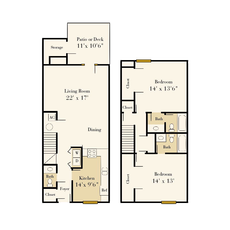 Strawberry Hill Star 2-bedroom/2.5 bath townhome floor plan