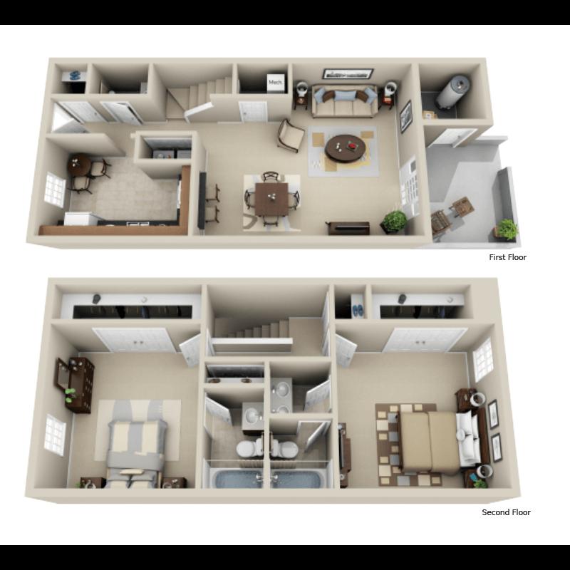Strawberry Hill Star 2-bedroom/2.5 bath townhome floor plan