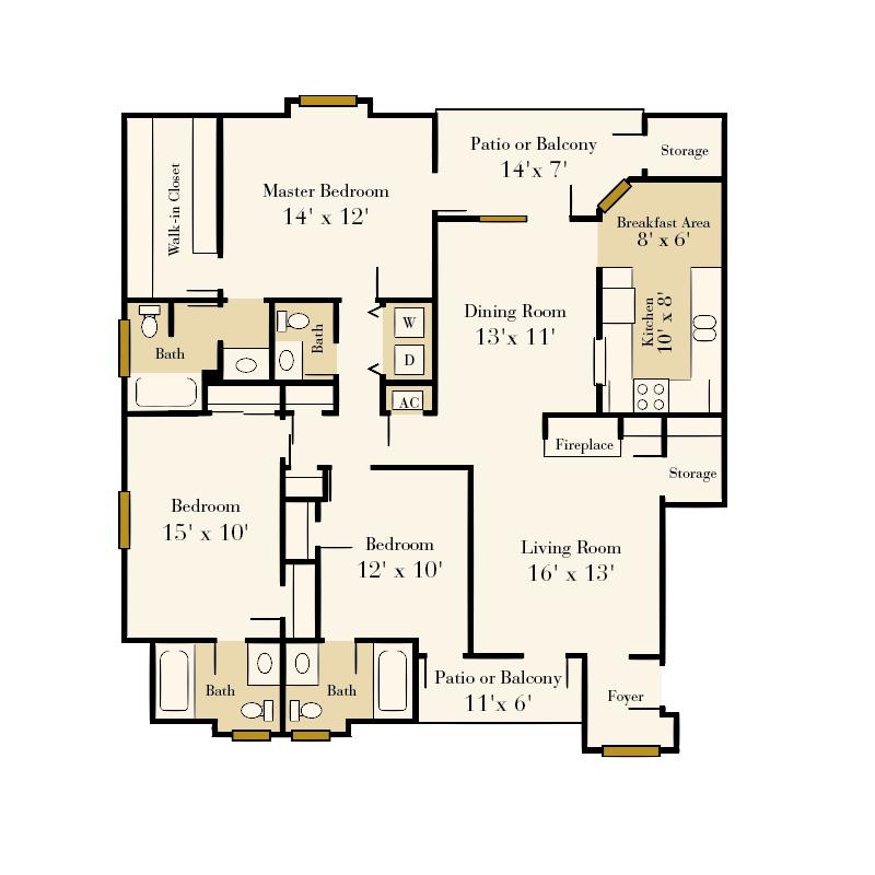 Strawberry Hill 3 bedroom/3.5 bath Sunbeam garden apartment floor plan