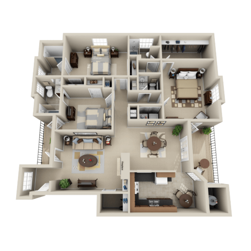 Strawberry Hill 3 bedroom/3.5 bath Sunbeam garden apartment floor plan