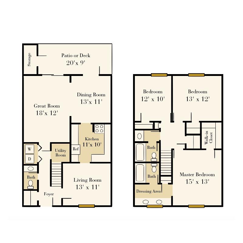 Strawberry Hill 3 bedroom/2.5 bath Treasure townhome floor plan